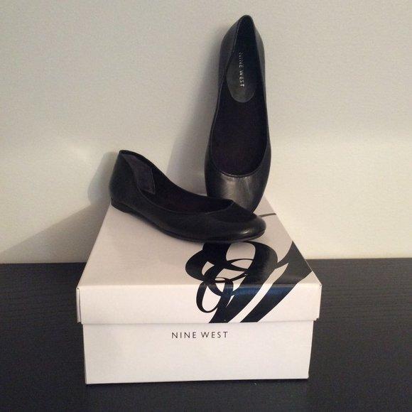 Nine West Flat Ballerina Patent Leather Black